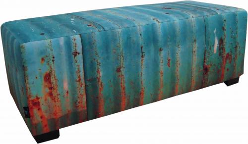 Hocker-zitbank blauw roest