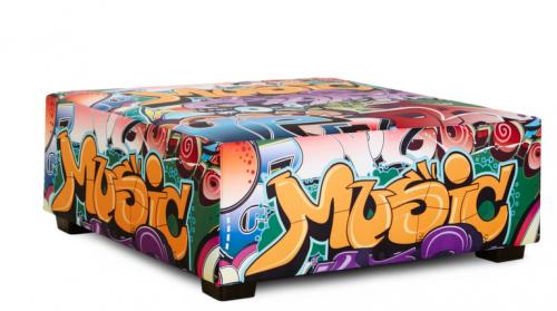 Poef Graffiti Groot - mv kantoor