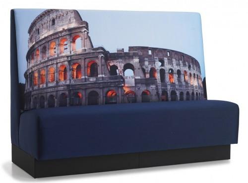 Treinbank Colosseum - Stevige wandbank kunstleder - zitbank op maat - mv kantoor