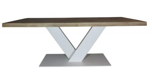 Industriële houten tafel V wit - vergadertafel groot - mv kantoor