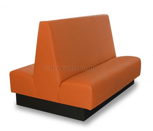 Treinbank dubbel roestoranje Cav26 - treinbank dubbel - schoolkantine meubilair - wandbank kunstleder - oranje