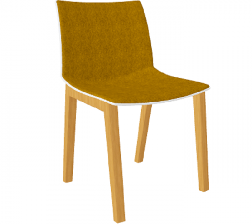 Stoel Point Wood Front gestoffeerd Maxi- stoel met brede zitting - MV Kantoor