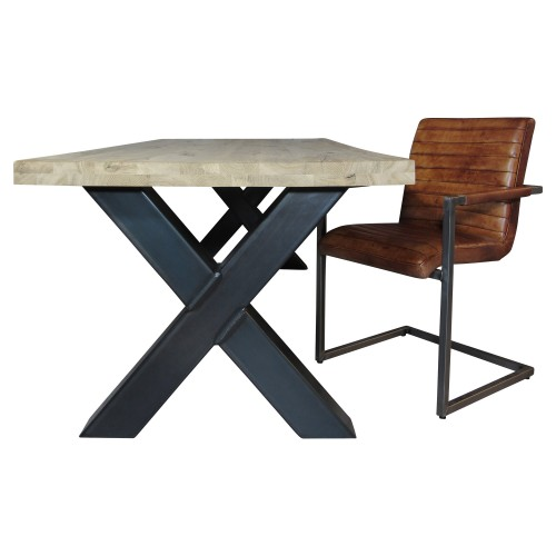 X-tafel met eiken tafelblad - MV Kantoor