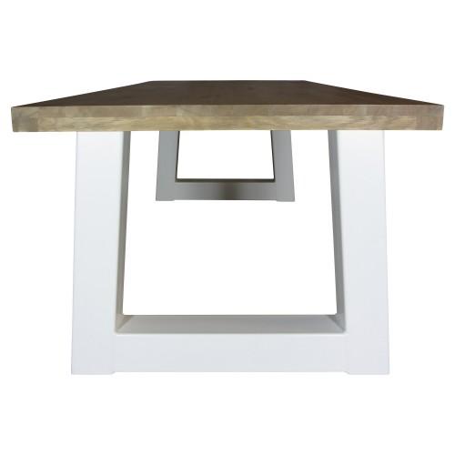 Industriële houten tafel trapezium - wit - grote vergadertafel - mv kantoor