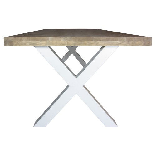 Industriële houten tafel X-poot - grote vergadertafel - mv kantoor