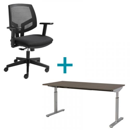 Combideal thuiswerkplek bureau Easy bureaustoel Mesh