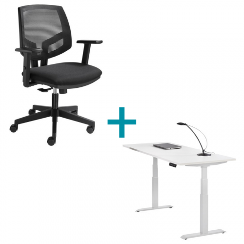 Thuiswerkplek zit sta bureau en bureaustoel mesh