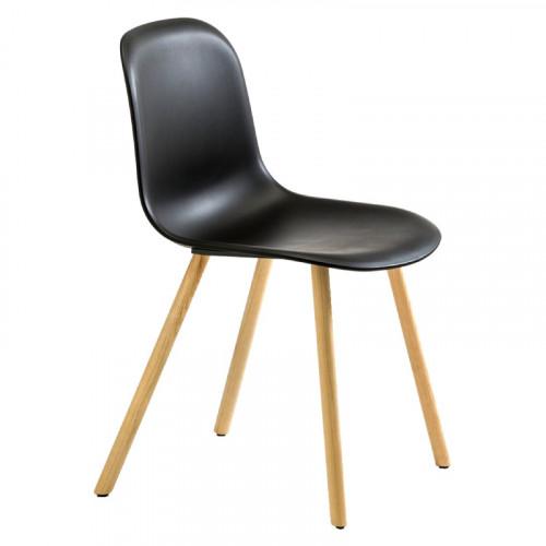 Stoel Mani Plus - kunststof stoel met essen houten onderstel - MV Kantoor
