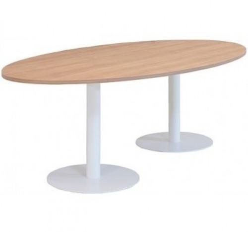 Kolom tafel met 2 ronde voeten - ovale vergadertafel - mv kantoor
