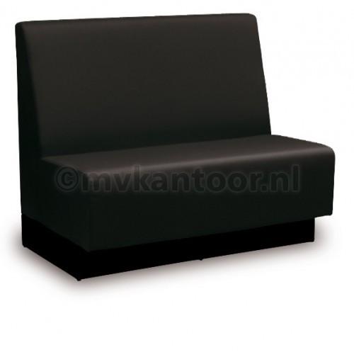 Treinbank zwart - kunstleren bank - aula meubelen - kantine inrichting - restaurant bank