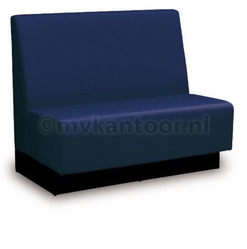 Treinbank - wandbank blauw - bank kantine - kantine bedrijf - kunstleren bank - mv kantoor