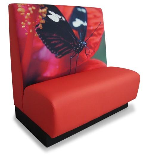 Aula meubelen met vlinderprint - bedrijfskantine inrichting - wandbank - mv kantoor