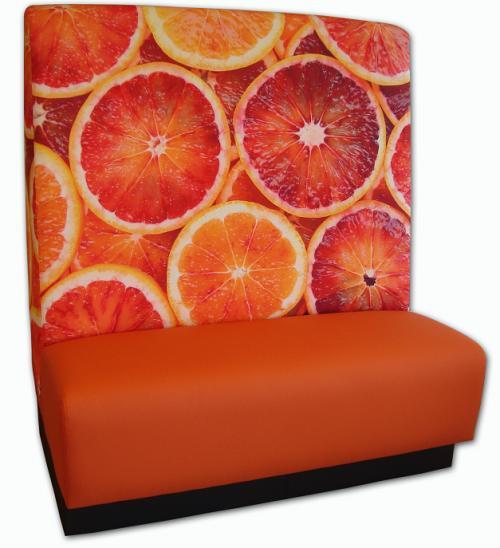 Wandbank kunstleder - sterke treinbank - zitbank op maat - sinaasappels