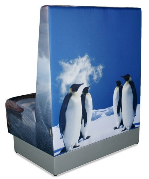 Wandbank kunstleder - aula bank - kantine bank - Treinbank Pinguïn