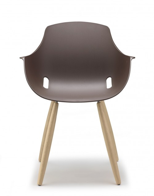 Ago houten 4-poot stoel - moderne kuipstoel - MV Kantoor
