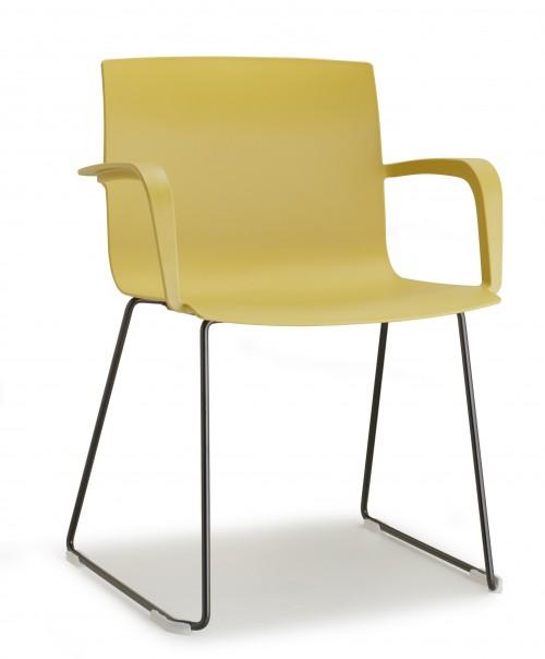 Stoel Pip Sledeframe - gele kunststof stoel - MV Kantoor