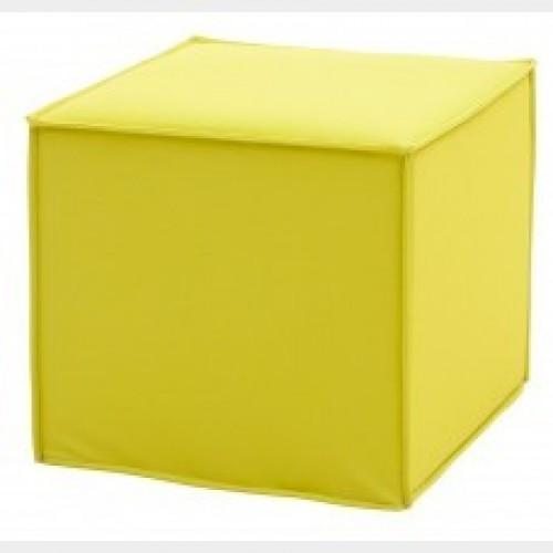 Poef Space geel - Vierkante poef met stiknaden - MV Kantoor