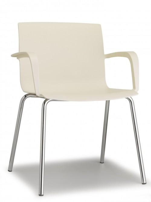 Stoel Pip 4-poot - witte kunststof stoel - MV Kantoor