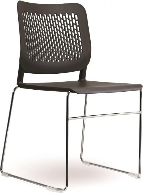 Moderne stoel S490-SL kantinestoel - bruine kunststof stoel sledeframe