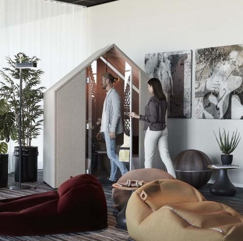 Half a Hut met glazen deur - akoestische overlegplek - mv kantoor