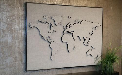 Akoestische Wereldkaart - akoestische wand kantoor