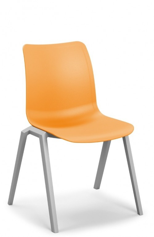 Celis stoel - stapelbare oranje schoolstoel - MV Kantoor