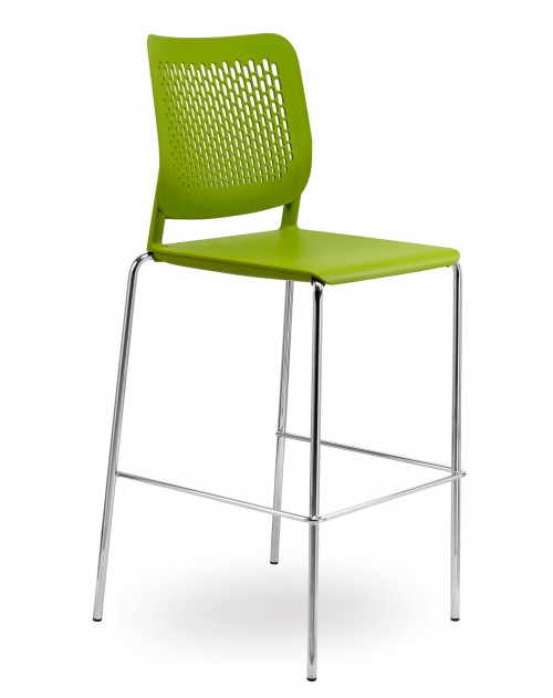 Barkruk H490 - groene stapelbare krukken - mv kantoor