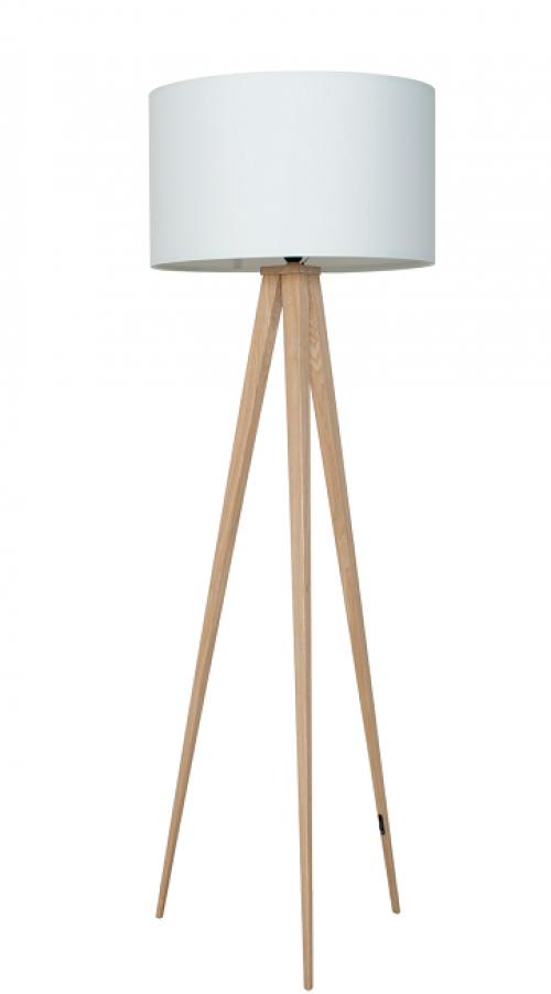Witte Staande Lamp.Vloerlamp Hout Met Witte Kap