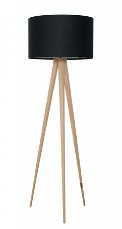 Vloerlamp hout met zwarte kap - MV Kantoor