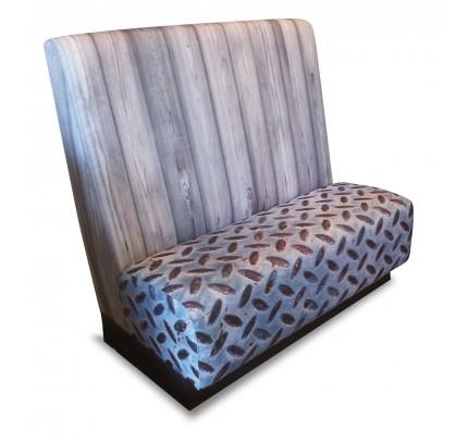 Treinbank metaal-houtprint