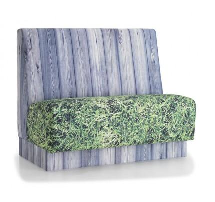 Treinbank print hout en gras