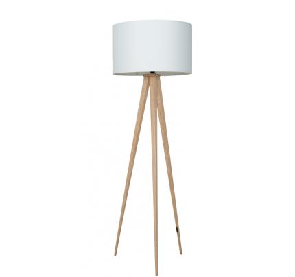 Vloerlamp hout met witte kap