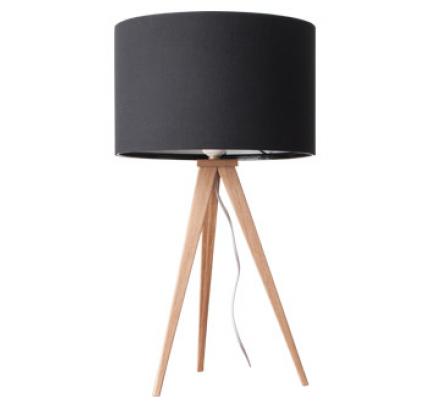 Tafellamp hout met zwarte kap