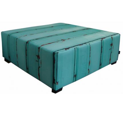 Hocker-zitbank steigerhout blauw