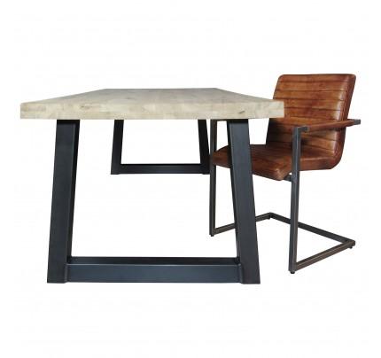 Industriële houten tafel Trapeze
