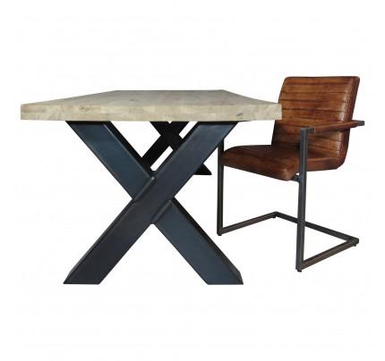 X-tafel met eiken tafelblad