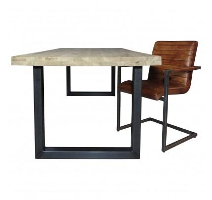 Industriële houten tafel U-poot