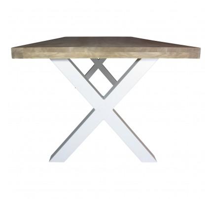 Industriële houten tafel X-poot