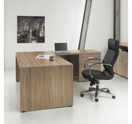 Directiebureau Manager L-vorm + Ladeblok 210cm