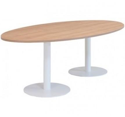 Kolom tafel ellipsvorm met 2 ronde voeten