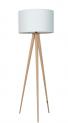 Vloerlamp hout met witte kap - moderne vloerlamp