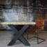 Massief houten tafel x poot
