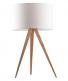 Tafellamp hout met witte kap