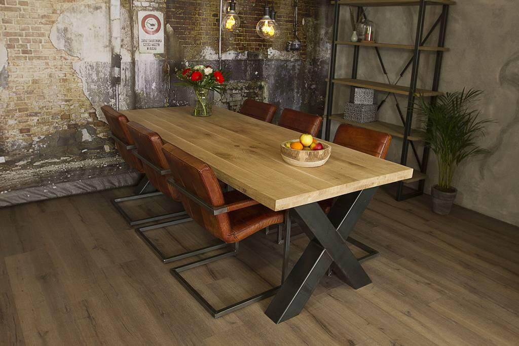 Grote Houten Tafels : X tafel met eiken tafelblad vergadertafels mv kantoor
