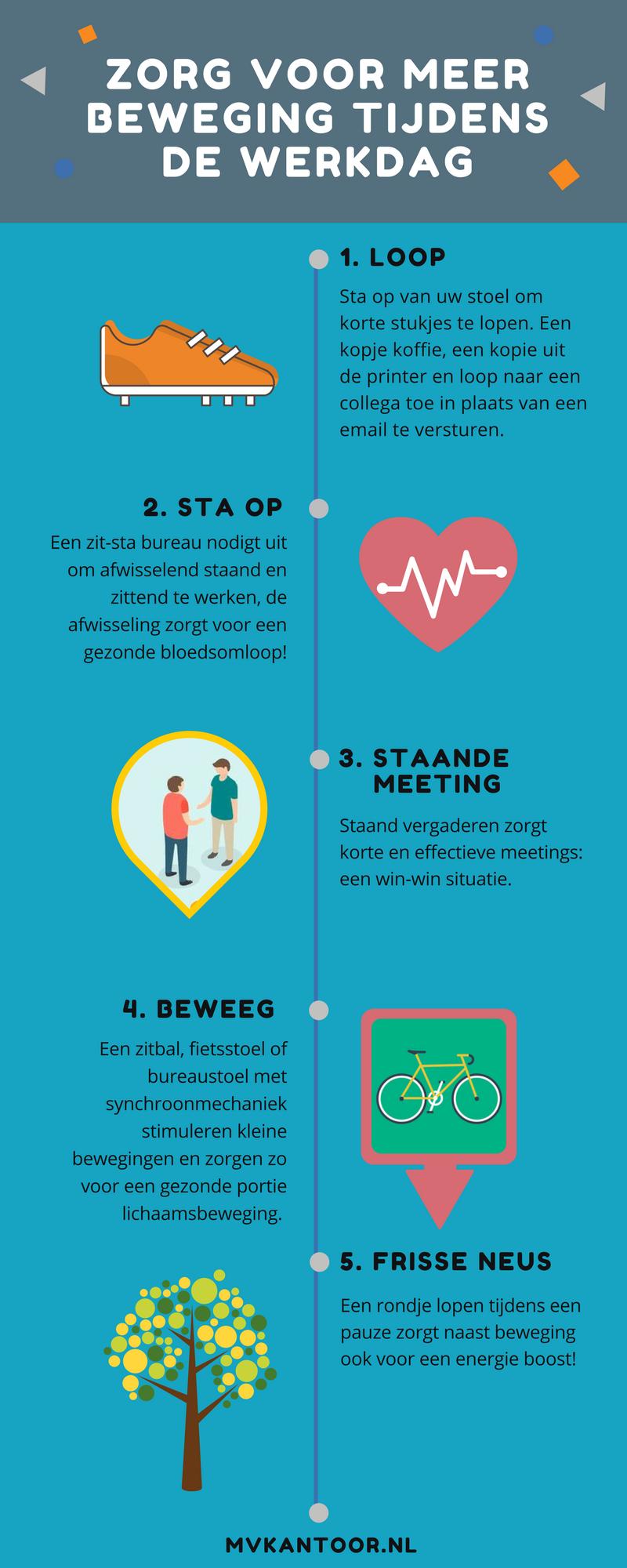 Infographic: Zorg voor meer beweging tijdens de werkdag