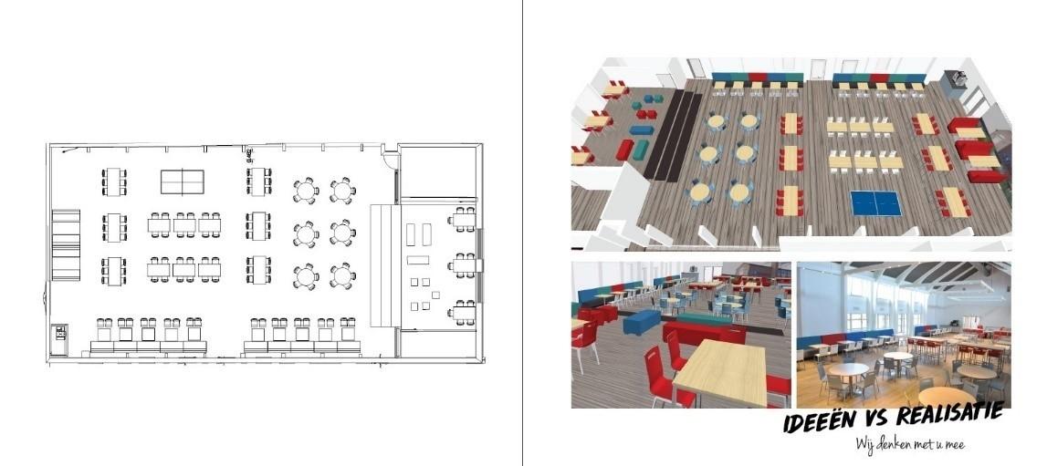 3d tekening project inrichting kantine