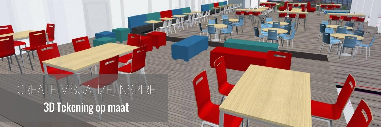 3D tekening projectinrichting kantine
