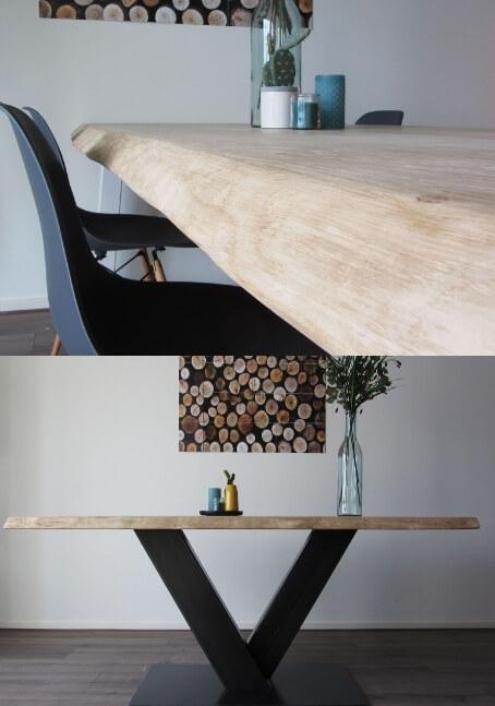 Houten tafels met stalen onderstel