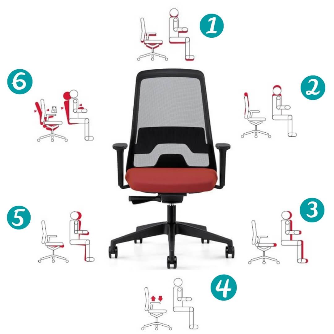 Stappen bureaustoel instellen