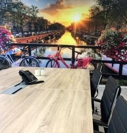 Vergaderruimte met Amsterdams fotobehang